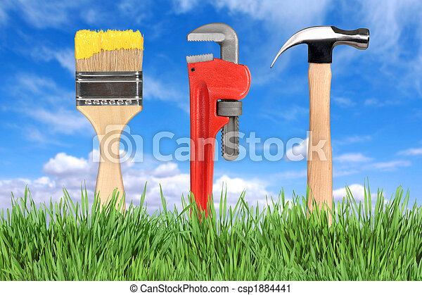 Home Improvement Tools Paintbrush, Pipe Wrench and Hammer - csp1884441