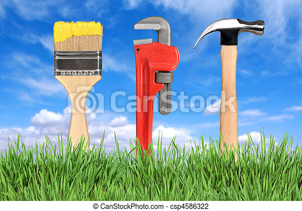 Home Improvement Tools Paintbrush, Pipe Wrench and Hammer - csp4586322