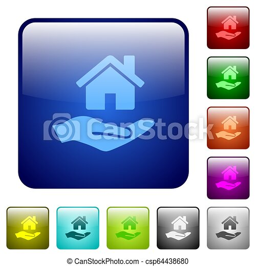 Home insurance color square buttons - csp64438680