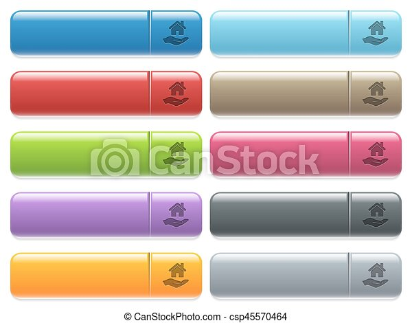 Home insurance icons on color glossy, rectangular menu button - csp45570464