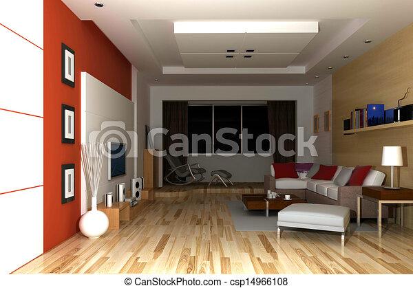 home interior 3d rendering - csp14966108