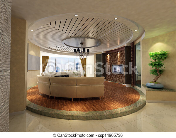 home interior 3d rendering - csp14965736