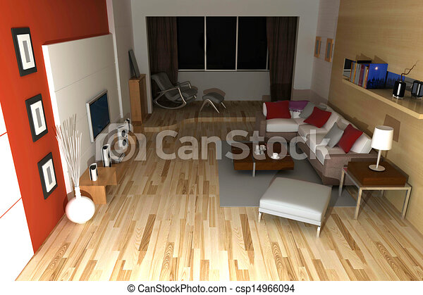 home interior 3d rendering - csp14966094