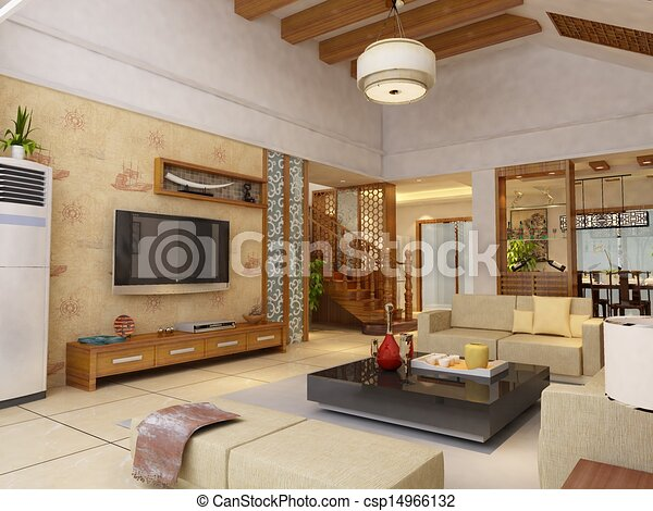 home interior 3d rendering - csp14966132