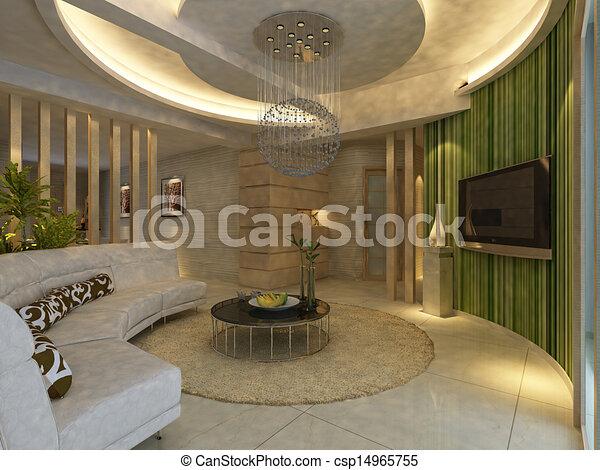 home interior 3d rendering - csp14965755