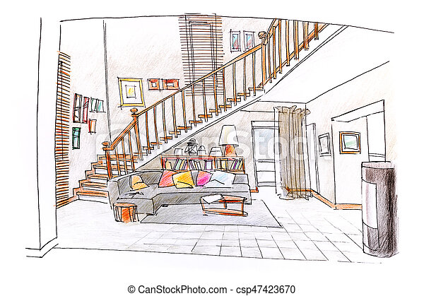 Home Interior Colored Hand Drawn Sketch Of Living Room