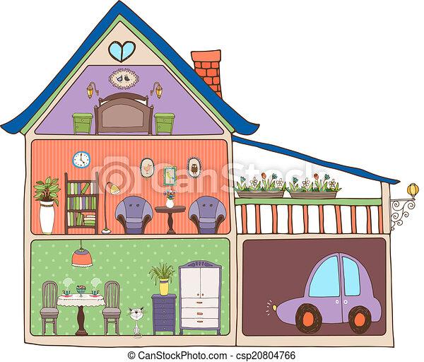 Home interior design and decor Vector illustration showing clip