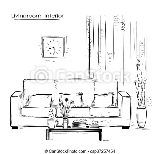 Home Interior With Couch And Table Hand Drawn Color Sketch On White