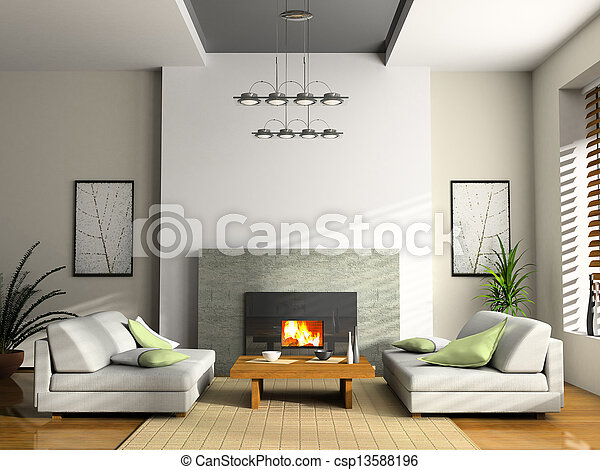 Home interior with fireplace and sofas 3D rendering - csp13588196