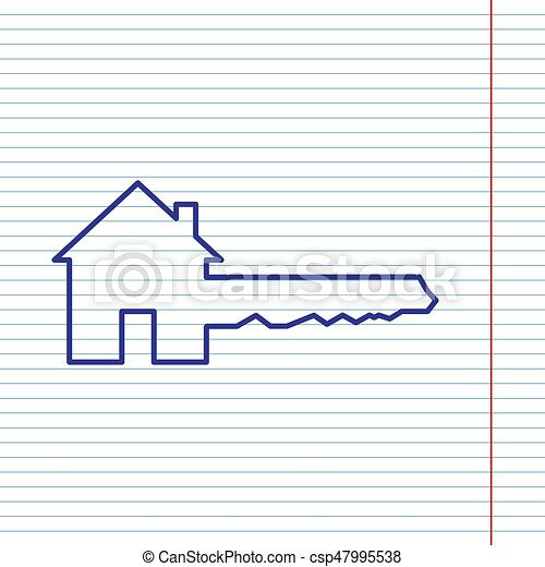 Home Key sign. Vector. Navy line icon on notebook paper as background with red line for field. - csp47995538