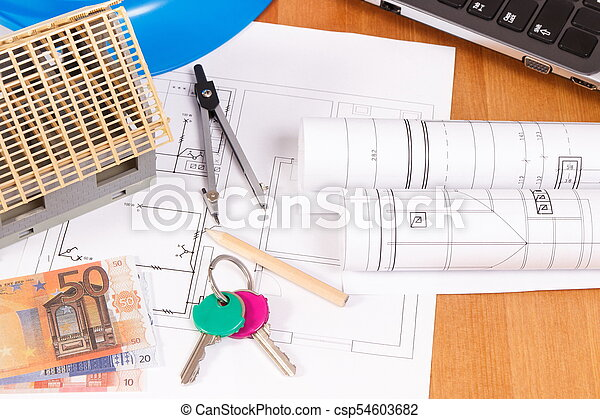 Home keys, currencies euro, electrical diagrams and accessories for engineer jobs, building home cost concept - csp54603682