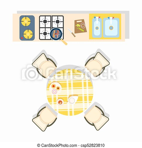 Home Kitchen Plan Design Vector Illustration - csp52823810