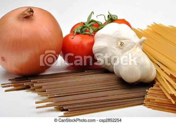 home made basil spaghetti with organic vegetable - csp2852254