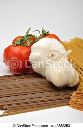 home made basil spaghetti with organic vegetable - csp2852253