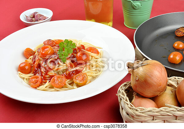 home made spaghetti with organic baby tomatoes - csp3078358