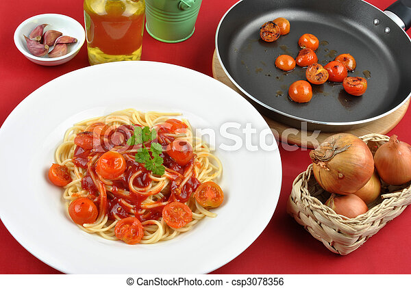 home made spaghetti with organic baby tomatoes - csp3078356