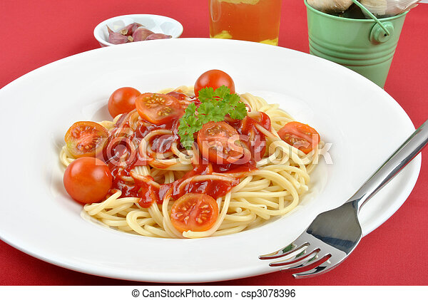 home made spaghetti with organic baby tomatoes - csp3078396