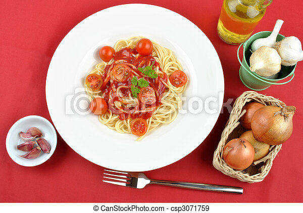 home made spaghetti with organic baby tomatoes - csp3071759