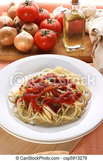 home made spaghetti with organic tomato sauce - csp5913279