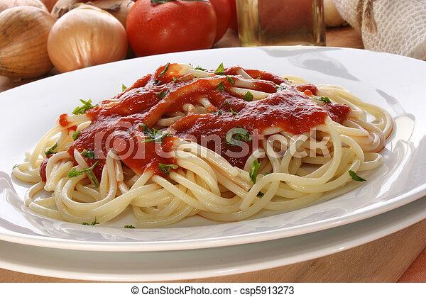 home made spaghetti with organic tomato sauce - csp5913273