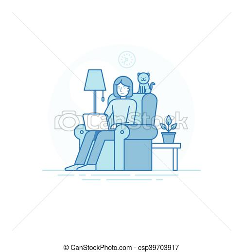 Home Office And Remote Creative Team Member   Outsource And Freelance Work  Concept   Csp39703917