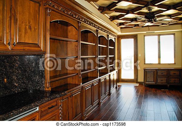 Home Office Den Stock Photo