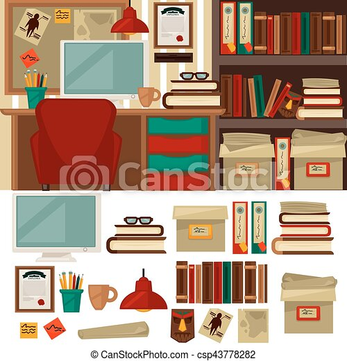 office library furniture. Interesting Library Home Office Furniture Library Interiors And Objects  Csp43778282 And Office Library Furniture