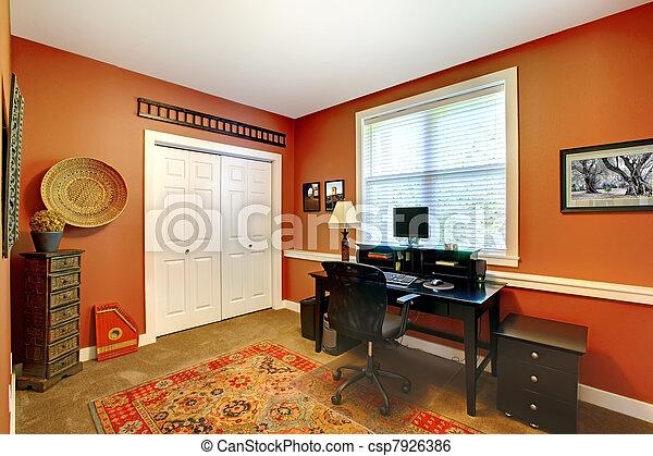 Home Office Interior Design With Orange Brick Walls Home