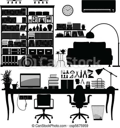 Home Office Library SOHO Vector - csp5675959