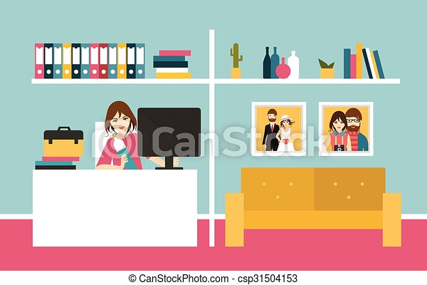 Office interior background in flat. Office interior background in ...