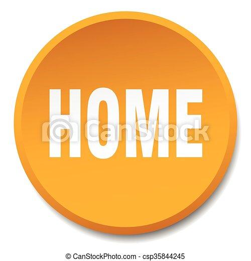 home orange round flat isolated push button - csp35844245