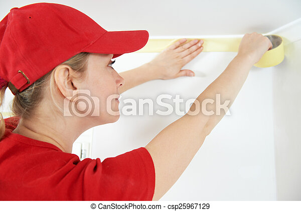 Home Painter with masking tape - csp25967129