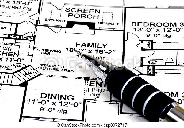 Home Plans and Pencil - csp0072717