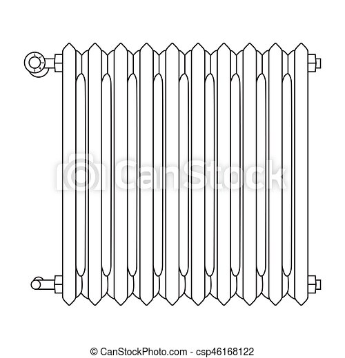 Home radiator line drawing with numbered heat levels for Radiador dwg