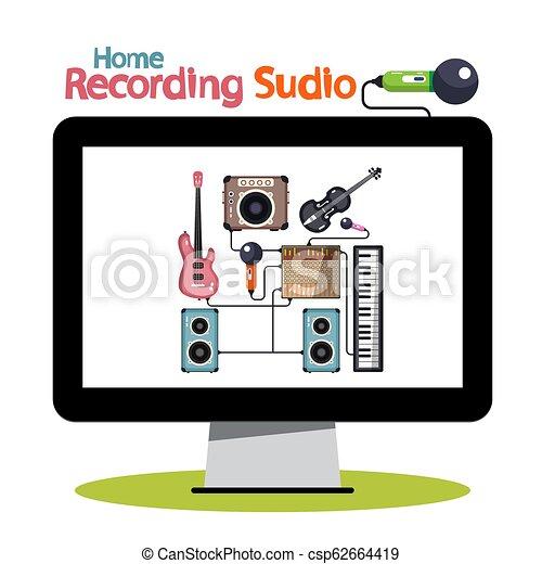 Home Recording Studio on Computer Screen - Vector Illustration - csp62664419