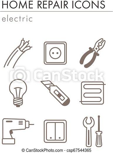 Home repair, electric icons - csp67544365