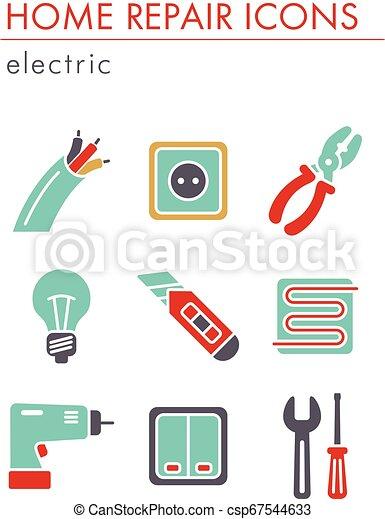 Home repair, electric icons - csp67544633