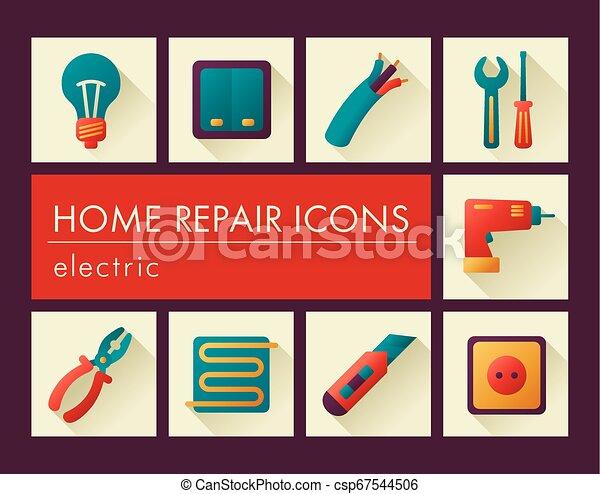 Home repair, electric icons - csp67544506