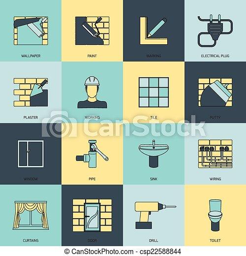 Home Repair Icons Flat Line Set