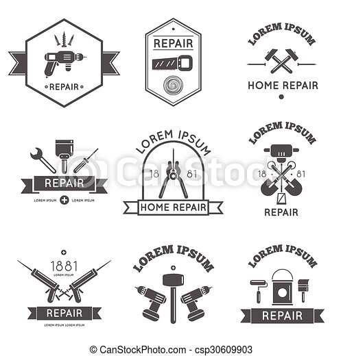 Home Repair Tools Labels Flat   Csp30609903
