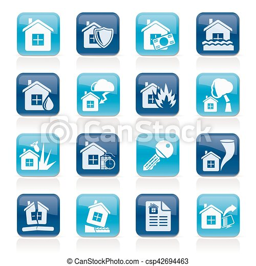 Home risk and insurance icons - csp42694463