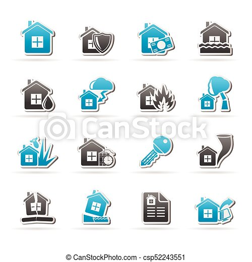 Home risk and insurance icons - csp52243551