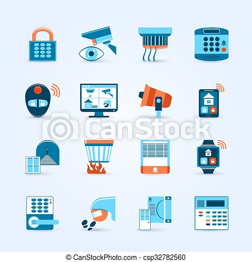 Home Security Icons Set  - csp32782560