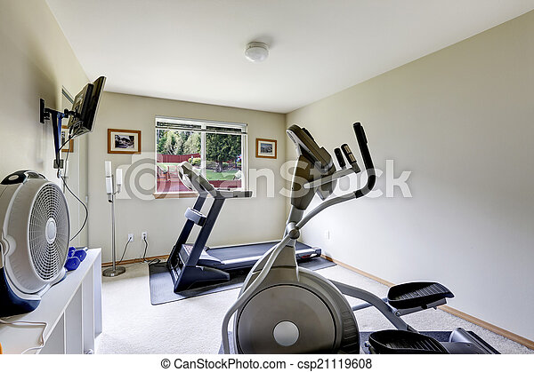 Home small gym room interior. bright gym room with exercise
