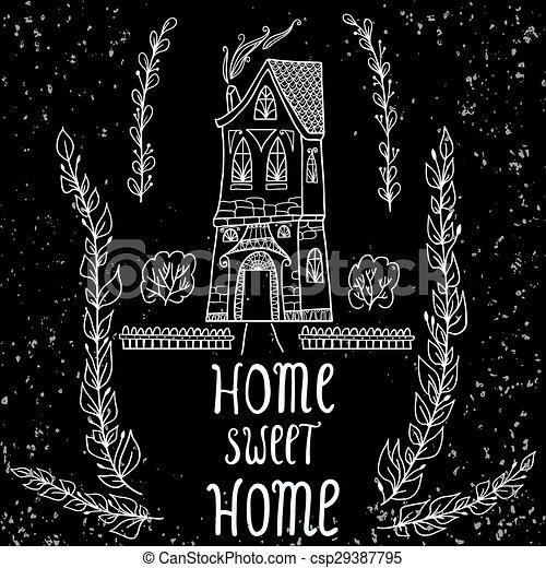 Home Sweet Home card.  - csp29387795
