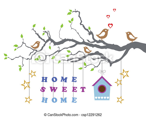 Clip Art Vector Of Home Sweet Home New House Card Home Sweet - New home clipart