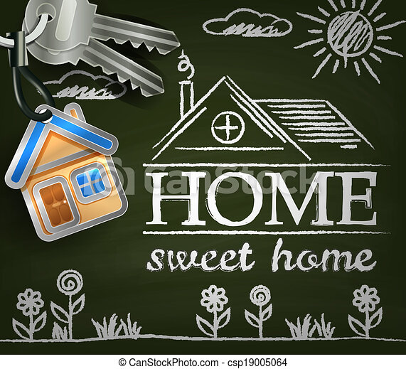 Home sweet home. Poster with house. keys. flowers and sun - csp19005064
