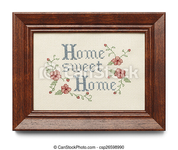 Home sweet home. Cross stitch in wood frame isolated on white ...