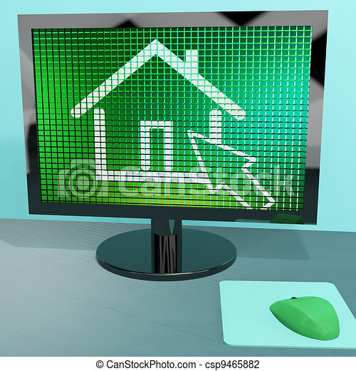 Home Symbol On Computer Screen Showing Real Estate Or Clip Art
