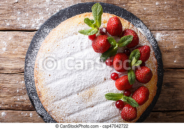 Home Victoria Sponge Cake Decorated With Strawberries And Mint Closeup Horizontal Top View